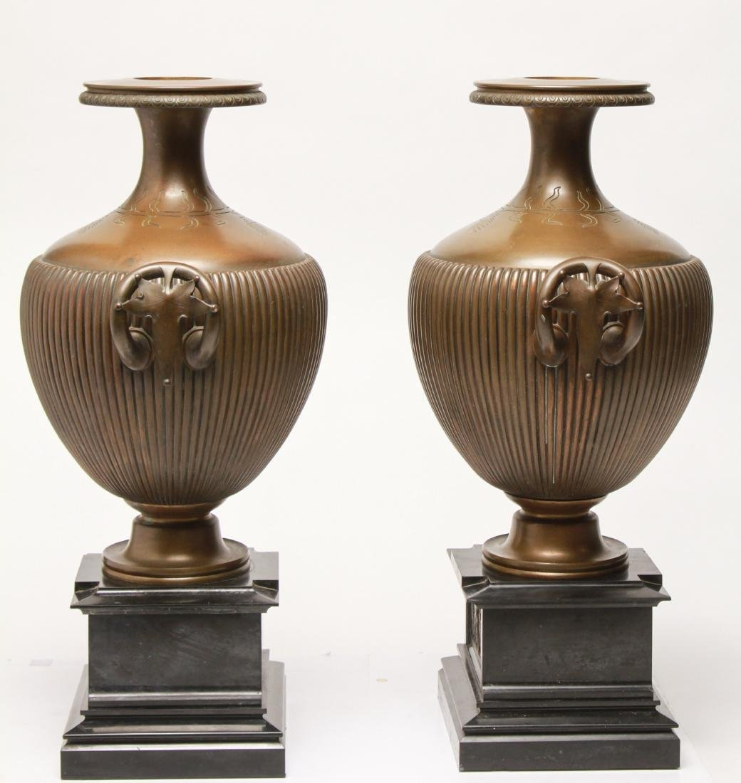 Large Neoclassical Manner Bronze & Marble Urns, Pr - 9