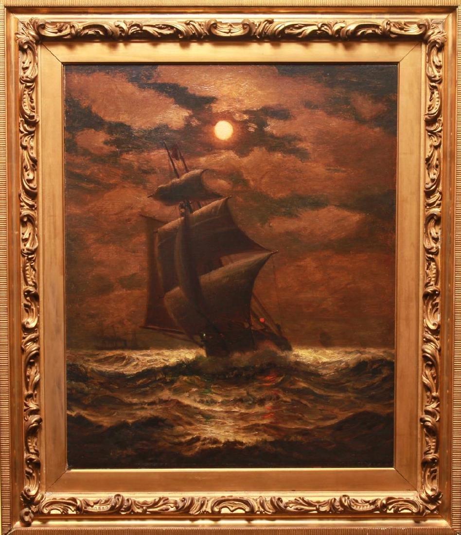 James G. Tyler Sailing Ship on Moonlit Water Oil
