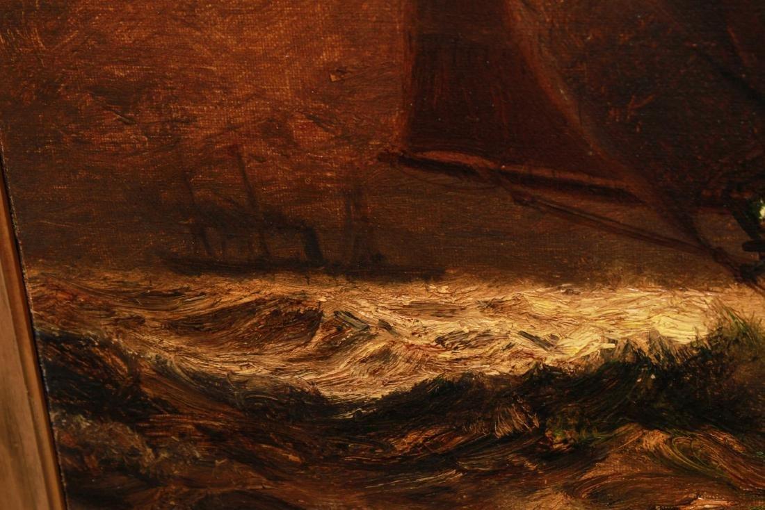 James G. Tyler Sailing Ship on Moonlit Water Oil - 4