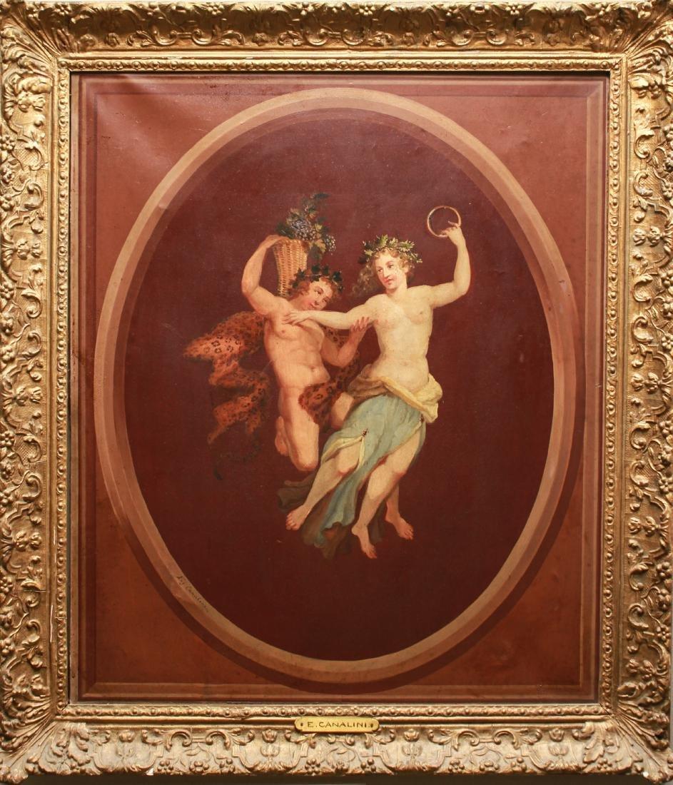 "Eugenio Canalini ""Dionysus & Maenad"" Oil on Canvas"