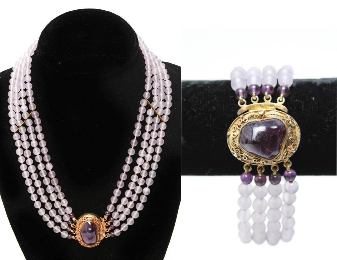 Amethyst Silver Vermeil Necklace & Bracelet Set