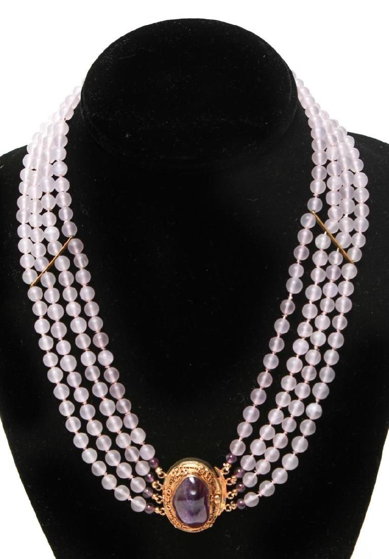 Amethyst Silver Vermeil Necklace & Bracelet Set - 2