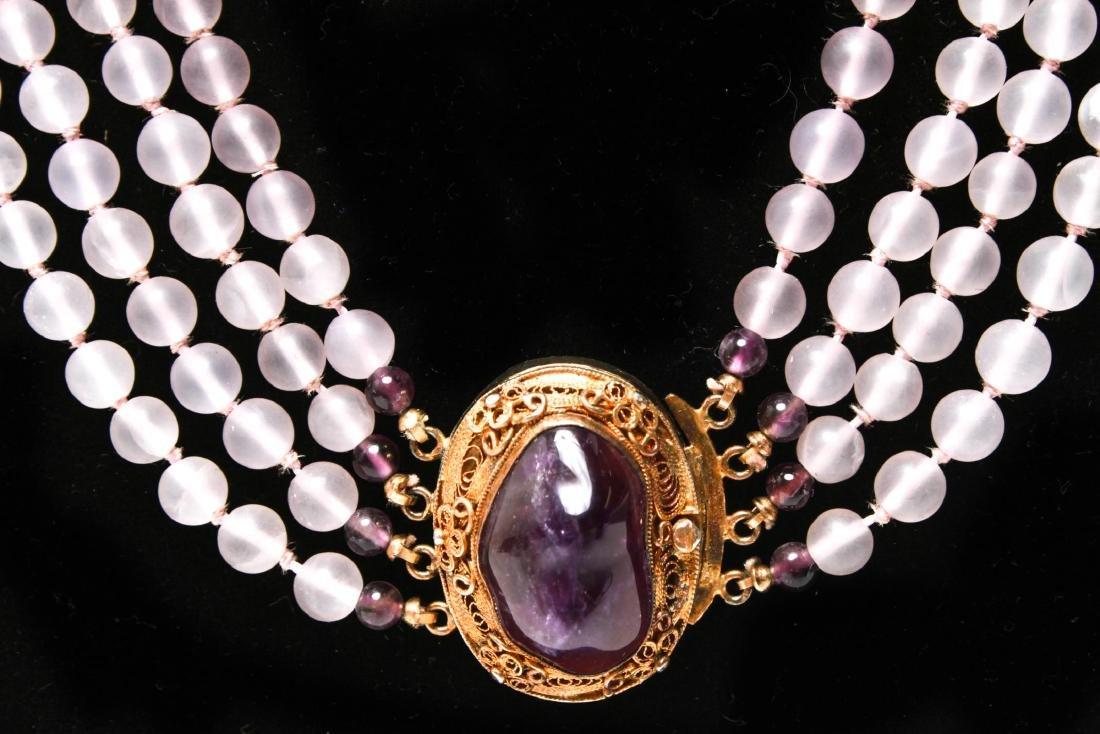 Amethyst Silver Vermeil Necklace & Bracelet Set - 3