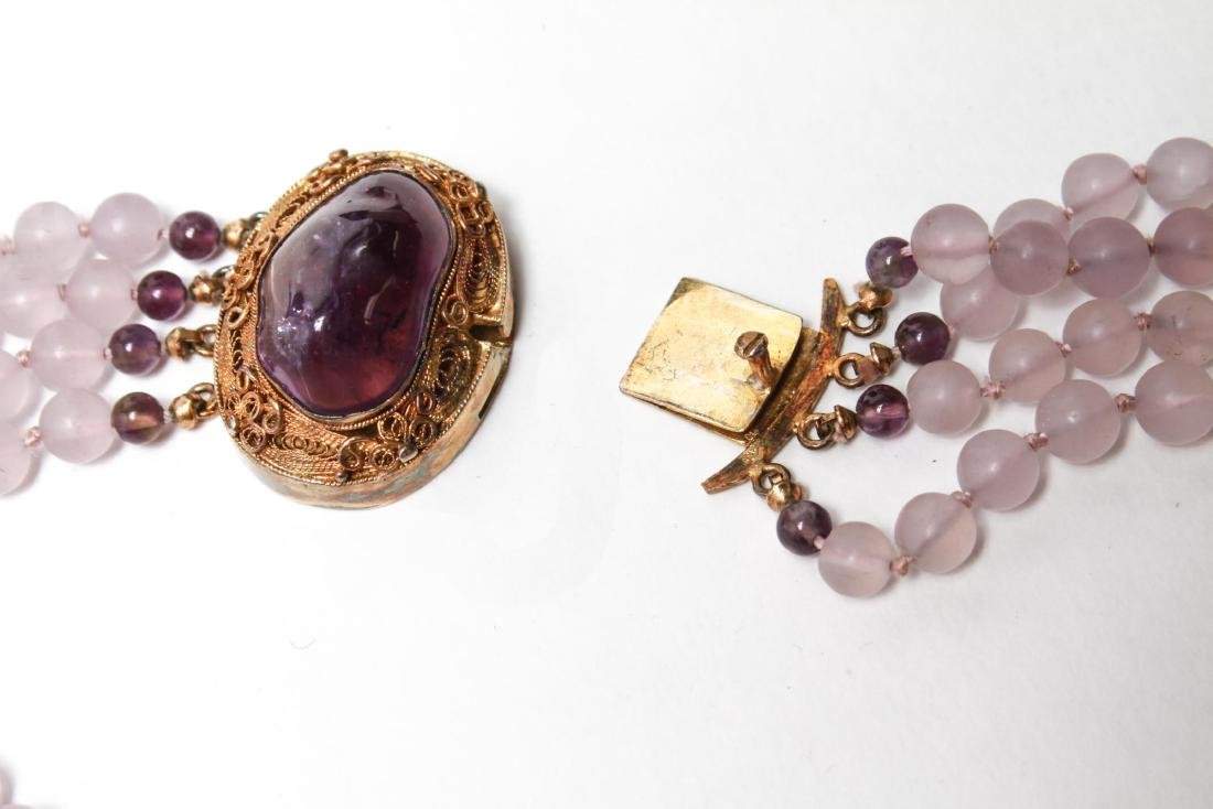 Amethyst Silver Vermeil Necklace & Bracelet Set - 5
