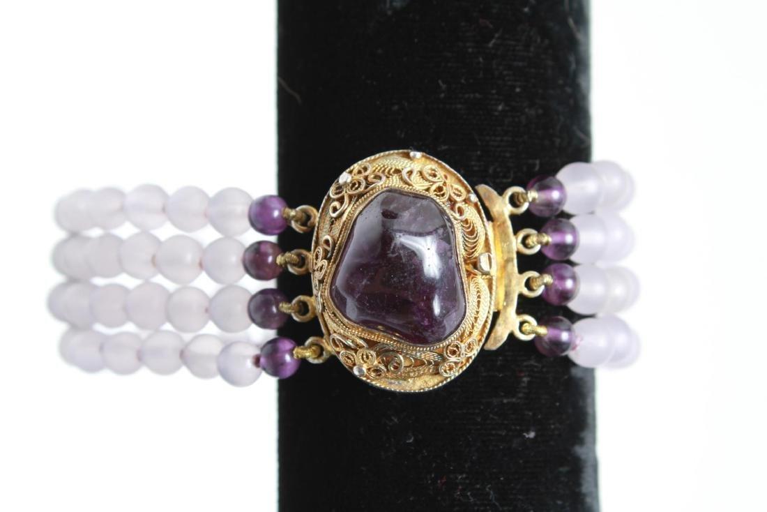 Amethyst Silver Vermeil Necklace & Bracelet Set - 6