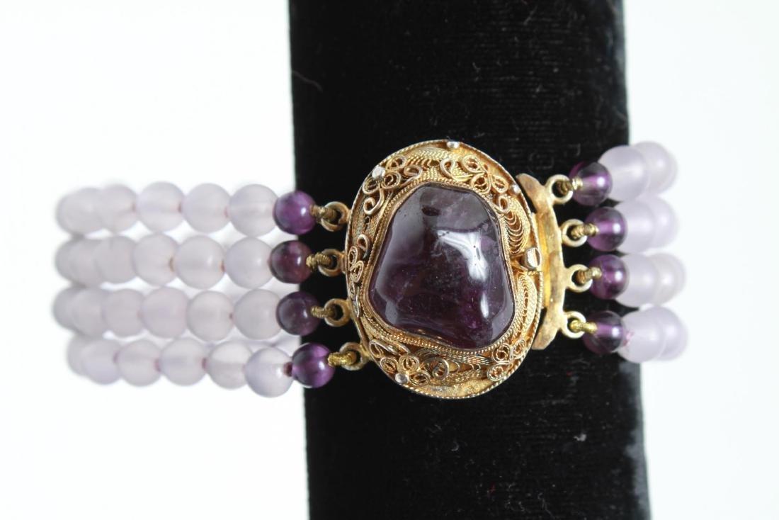 Amethyst Silver Vermeil Necklace & Bracelet Set - 7