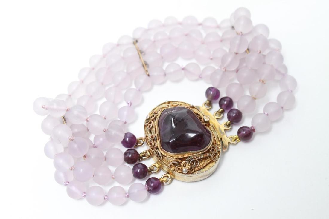 Amethyst Silver Vermeil Necklace & Bracelet Set - 8