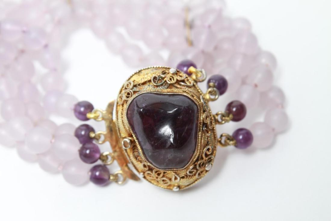 Amethyst Silver Vermeil Necklace & Bracelet Set - 9