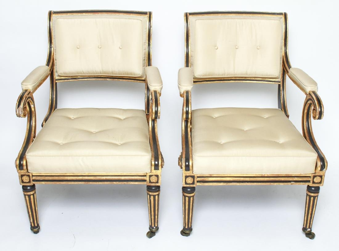 Regency Painted & Giltwood Armchairs / Chairs Pair