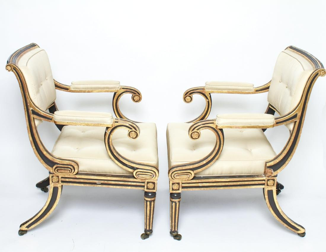Regency Painted & Giltwood Armchairs / Chairs Pair - 7