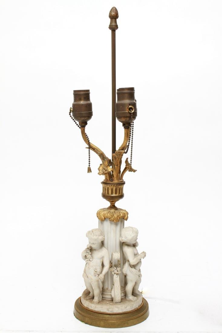 Parian Bisque Porcelain & Ormolu Cherub Table Lamp