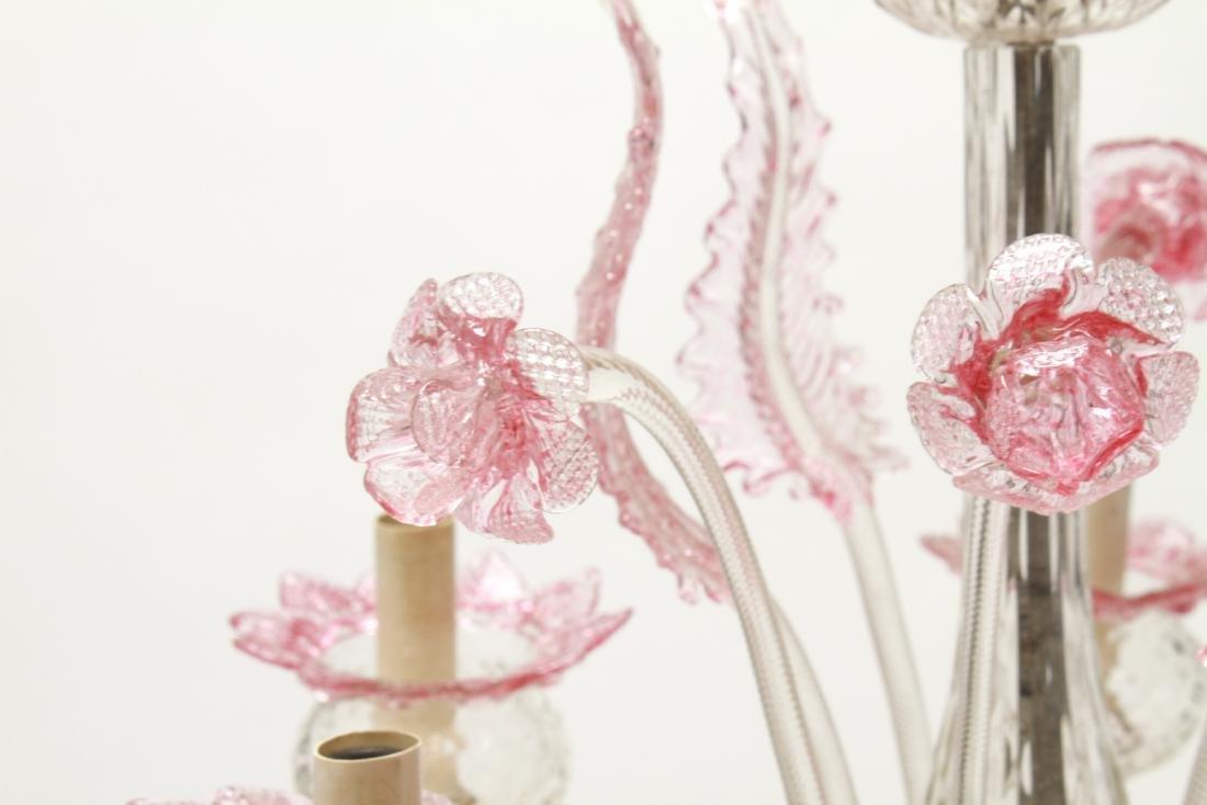 Venetian Glass Chandelier 6-Lights Leaf and Floral - 3