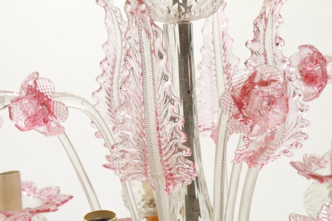 Venetian Glass Chandelier 6-Lights Leaf and Floral - 4