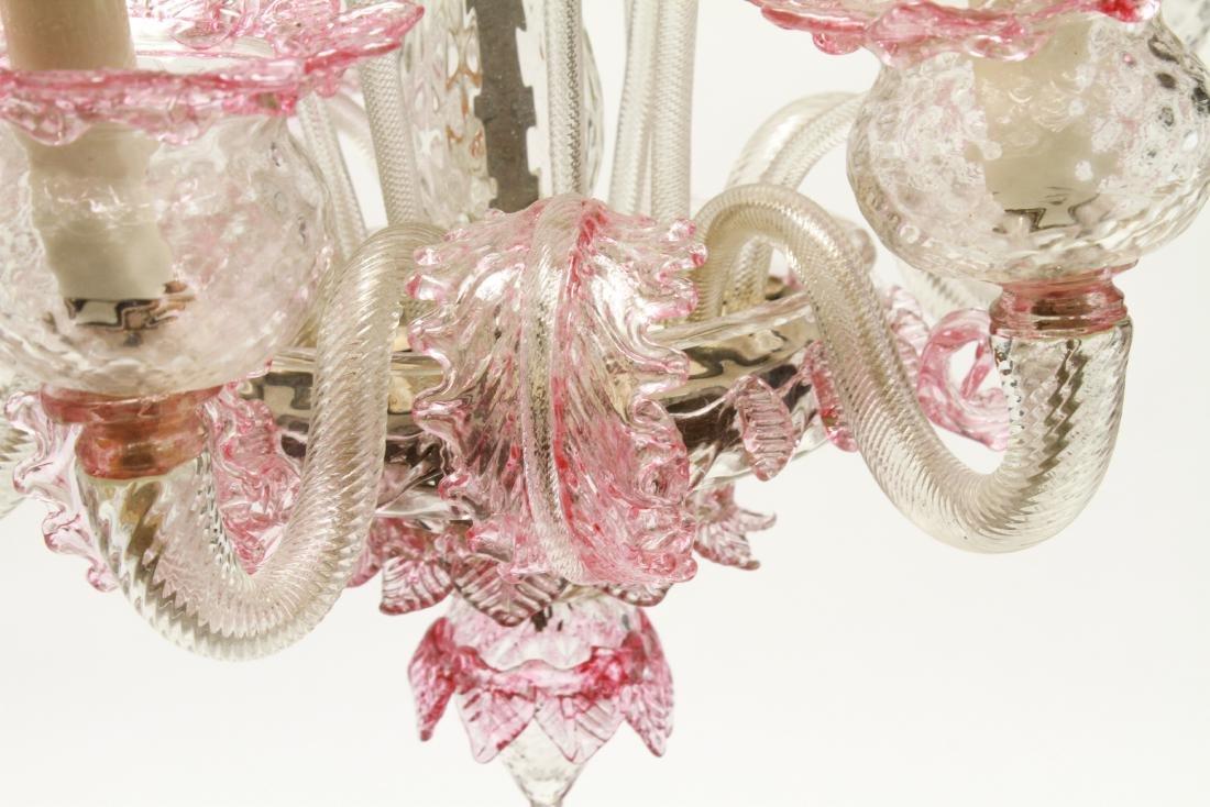 Venetian Glass Chandelier 6-Lights Leaf and Floral - 5
