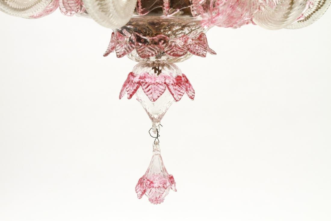 Venetian Glass Chandelier 6-Lights Leaf and Floral - 6