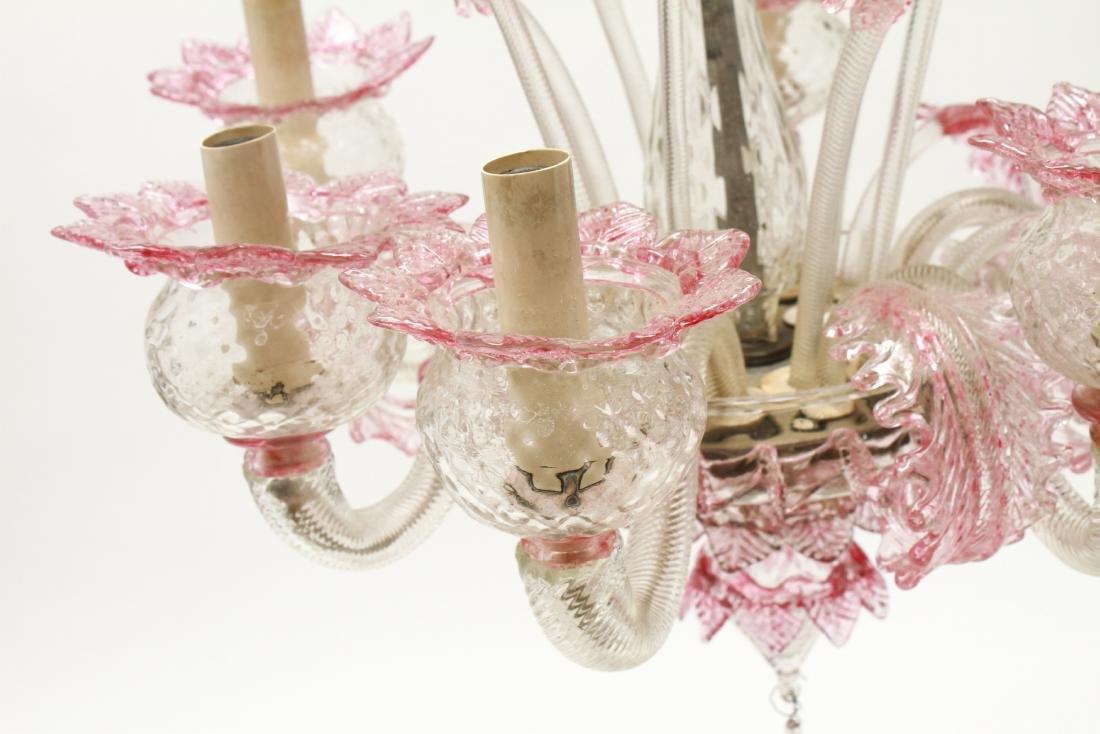 Venetian Glass Chandelier 6-Lights Leaf and Floral - 7