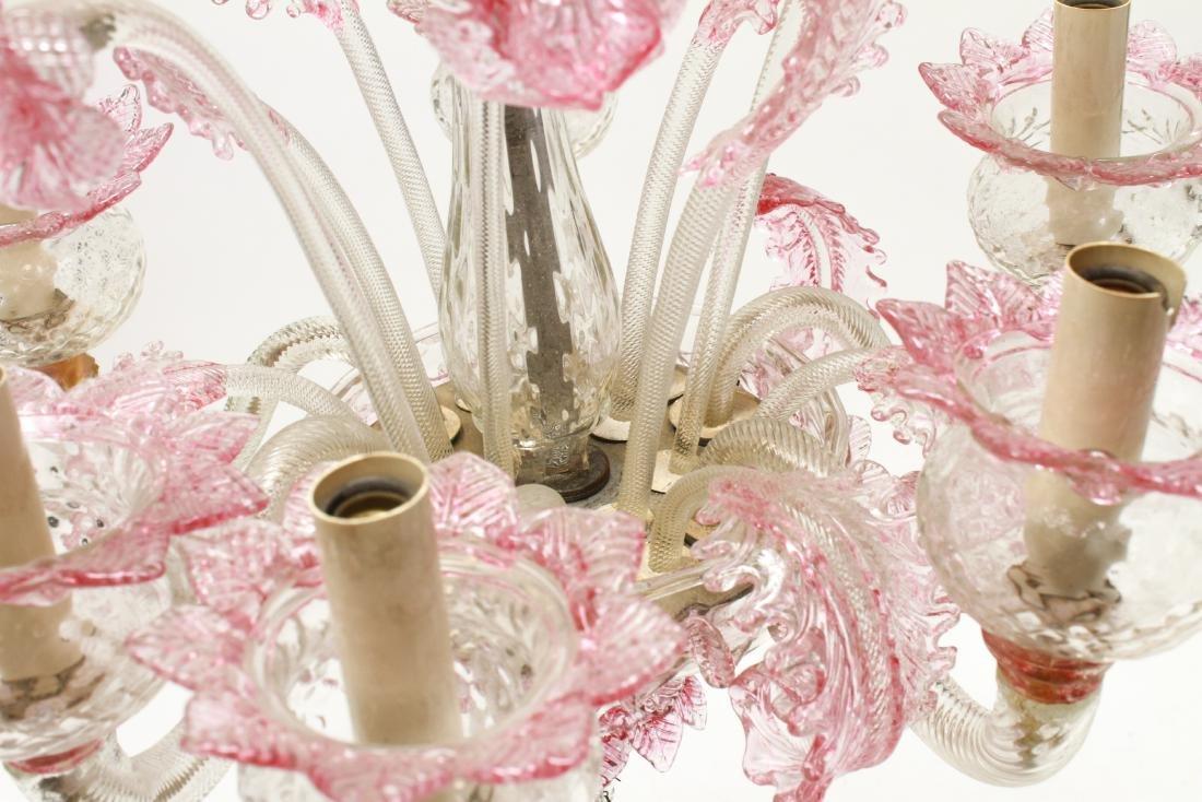 Venetian Glass Chandelier 6-Lights Leaf and Floral - 8