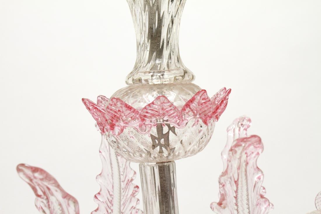 Venetian Glass Chandelier 6-Lights Leaf and Floral - 9