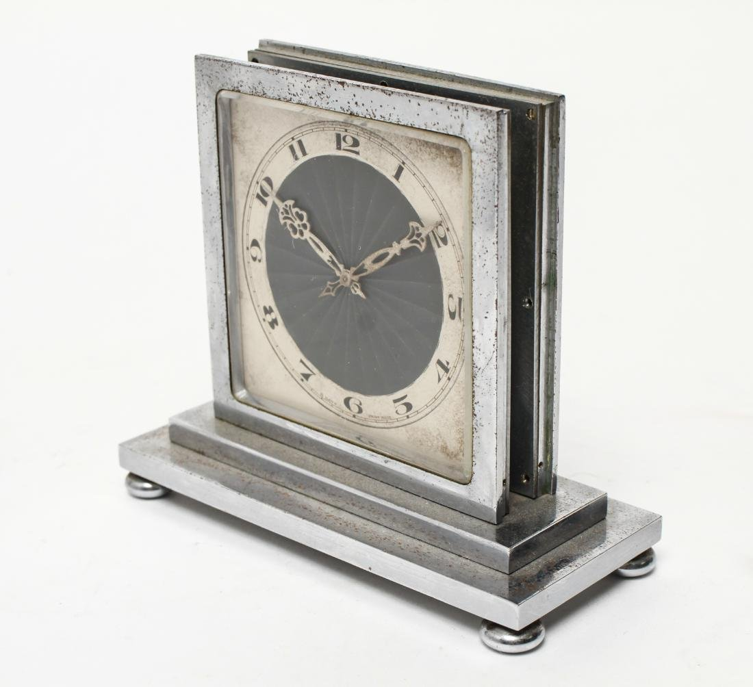 Art Deco Omega Double-Sided Desk Clock Chrome - 2