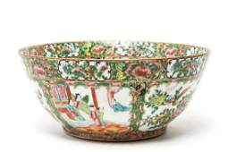 Chinese Export Rose Medallion Punch Bowl 19th C