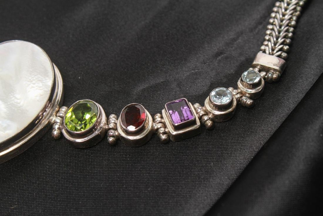 Sterling Silver & Semi-Precious Stones Necklace - 2