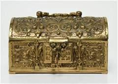 Gilt Brass Dome Top Locking Trinket Jewelry Chest