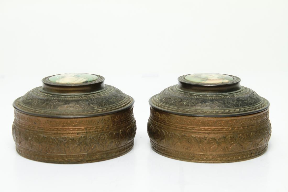 PNCW Gilt Metal Trinket Powder Dresser Boxes, Pair - 2