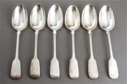 English Eaton Silver Fiddle Back Serving Spoons 6