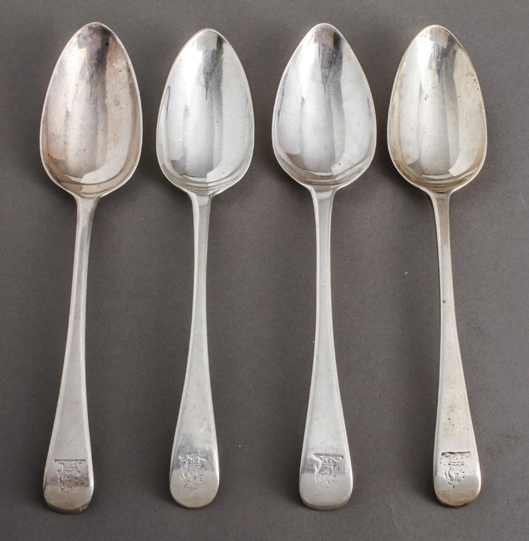 English Sterling Silver Serving Spoons, Group of 4