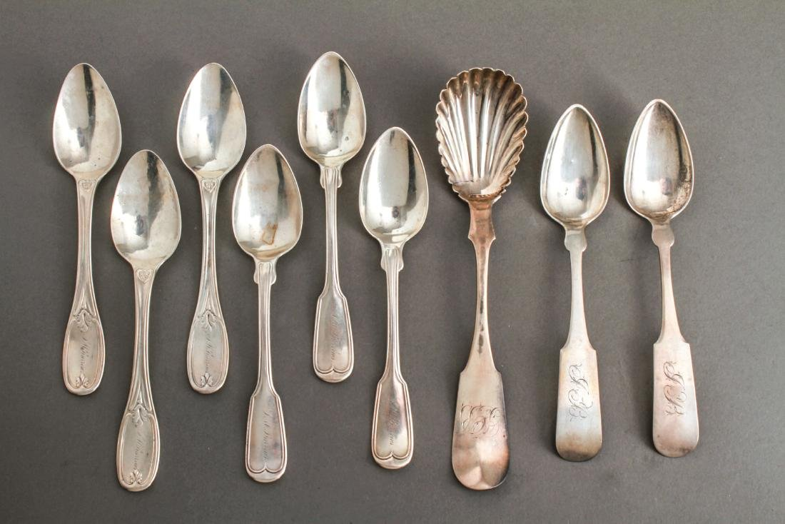 Coin Silver Spoons, Various Makers, Group of 9