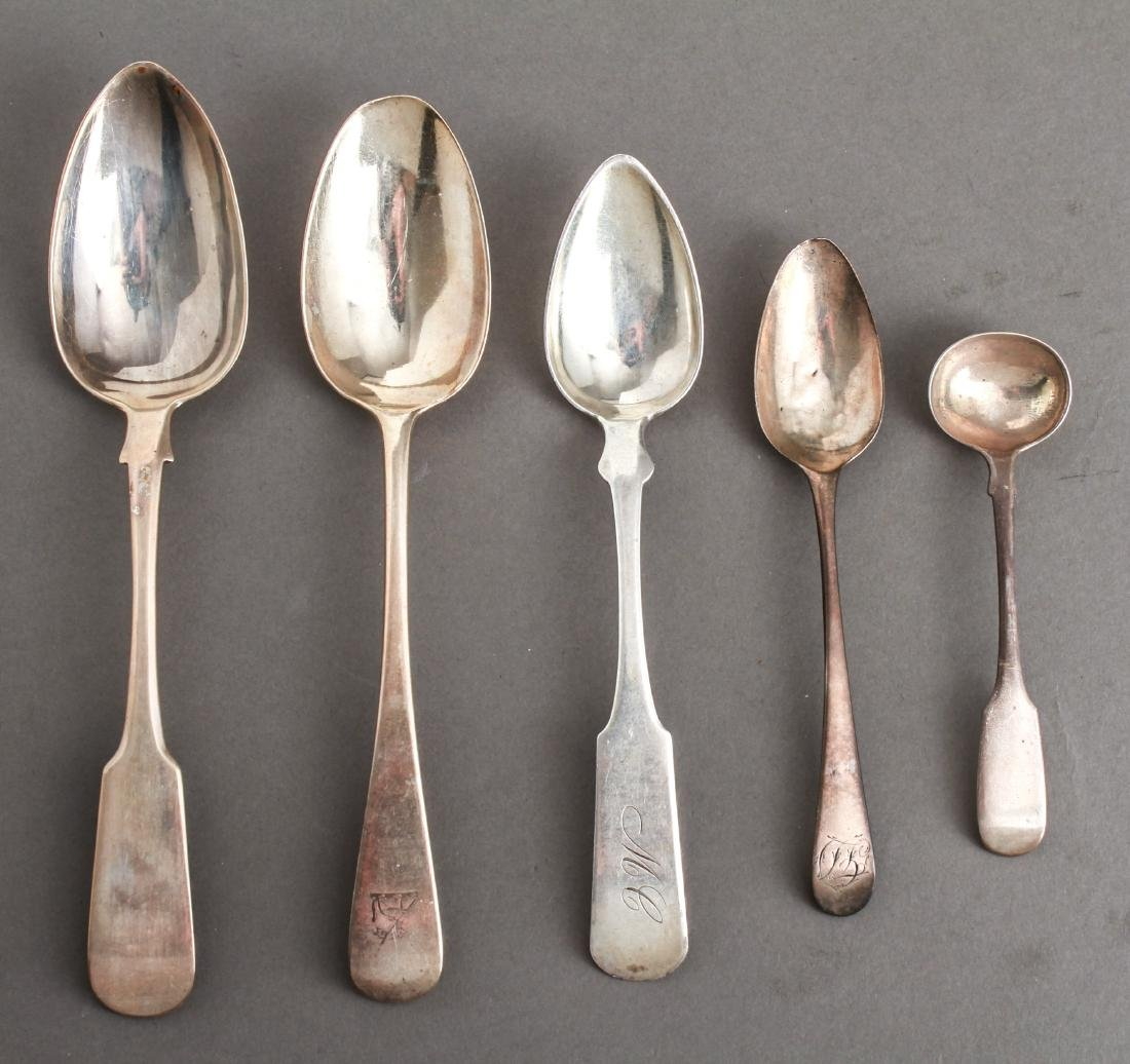 English Silver Spoons, Group of 5