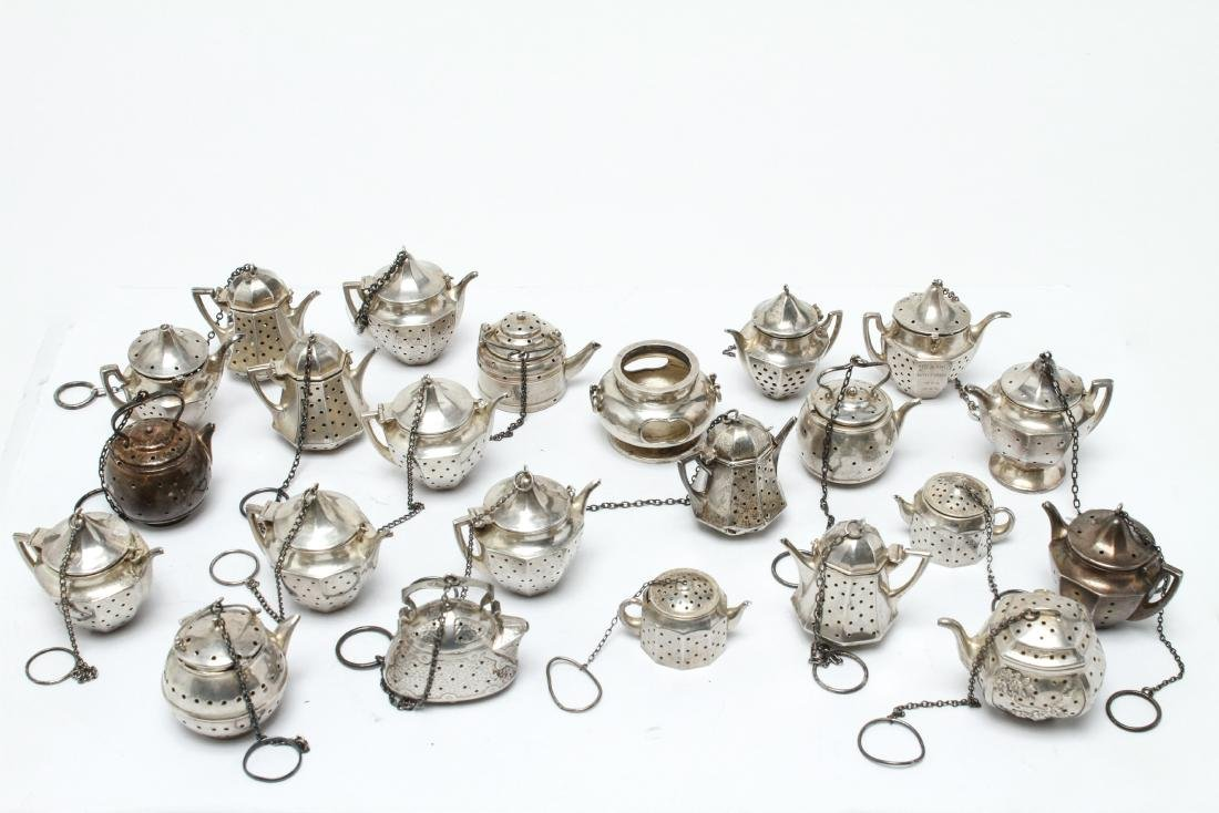 Sterling Silver Teapot Form Tea Balls Group of 23