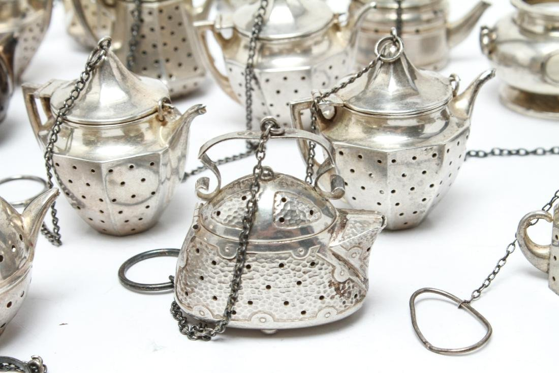 Sterling Silver Teapot Form Tea Balls Group of 23 - 2