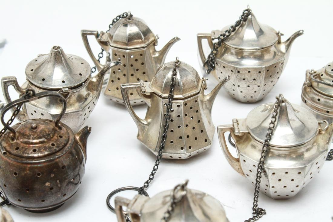 Sterling Silver Teapot Form Tea Balls Group of 23 - 4