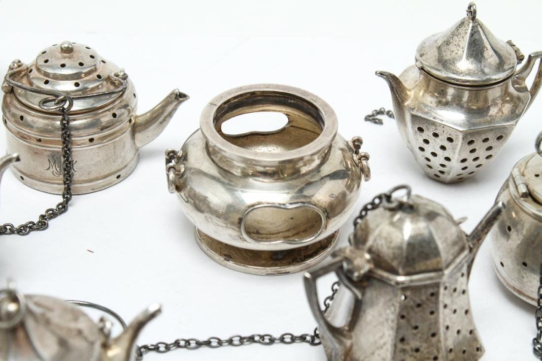 Sterling Silver Teapot Form Tea Balls Group of 23 - 5