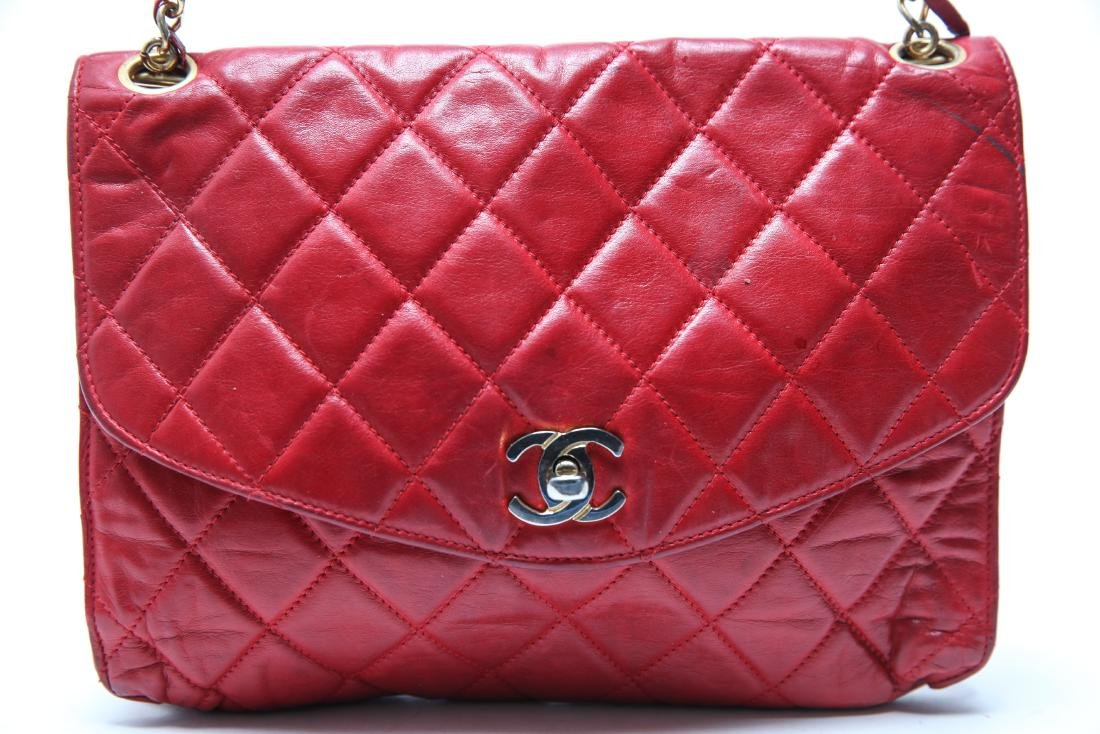 Chanel Vintage Red Leather Shoulder Bag - 2
