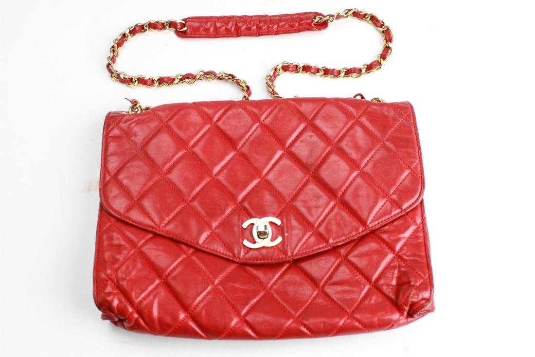Chanel Vintage Red Leather Shoulder Bag - 4