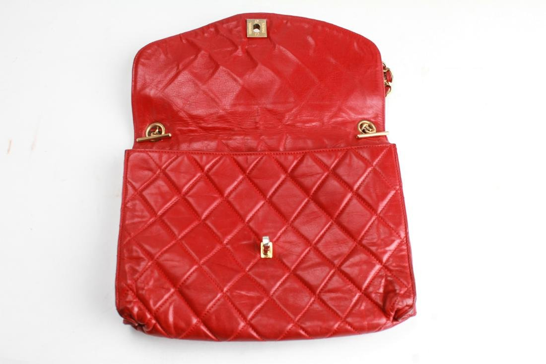 Chanel Vintage Red Leather Shoulder Bag - 5