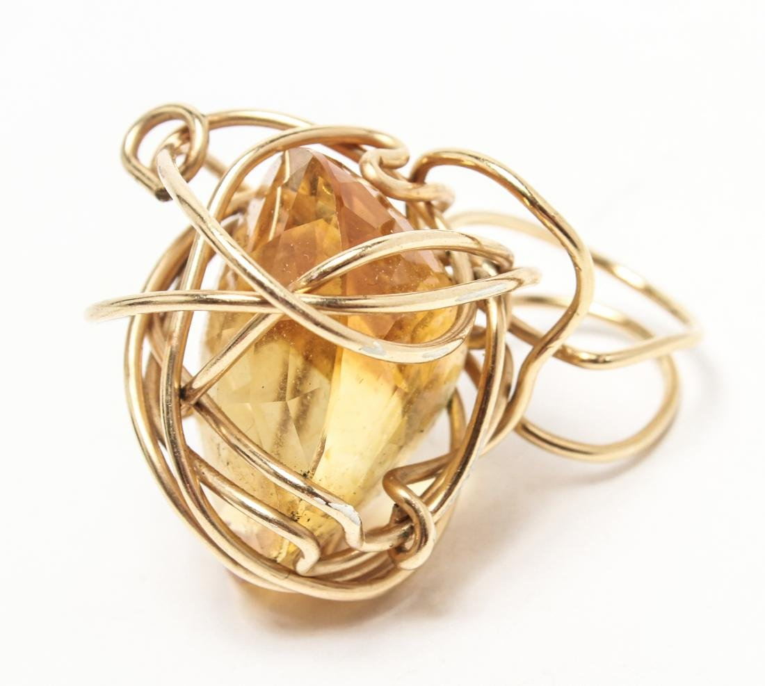 14K Yellow Gold & Large Oval Faceted Citrine Ring