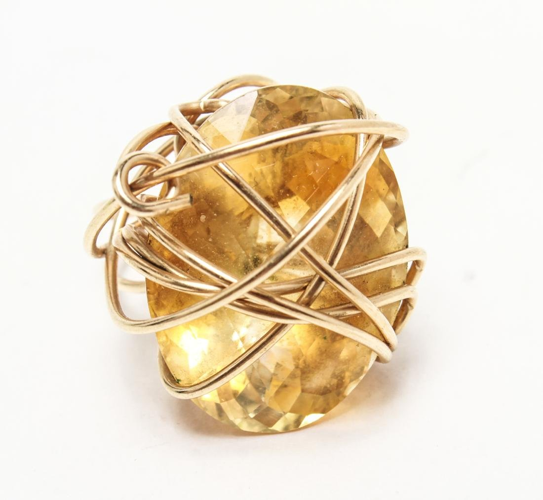 14K Yellow Gold & Large Oval Faceted Citrine Ring - 2