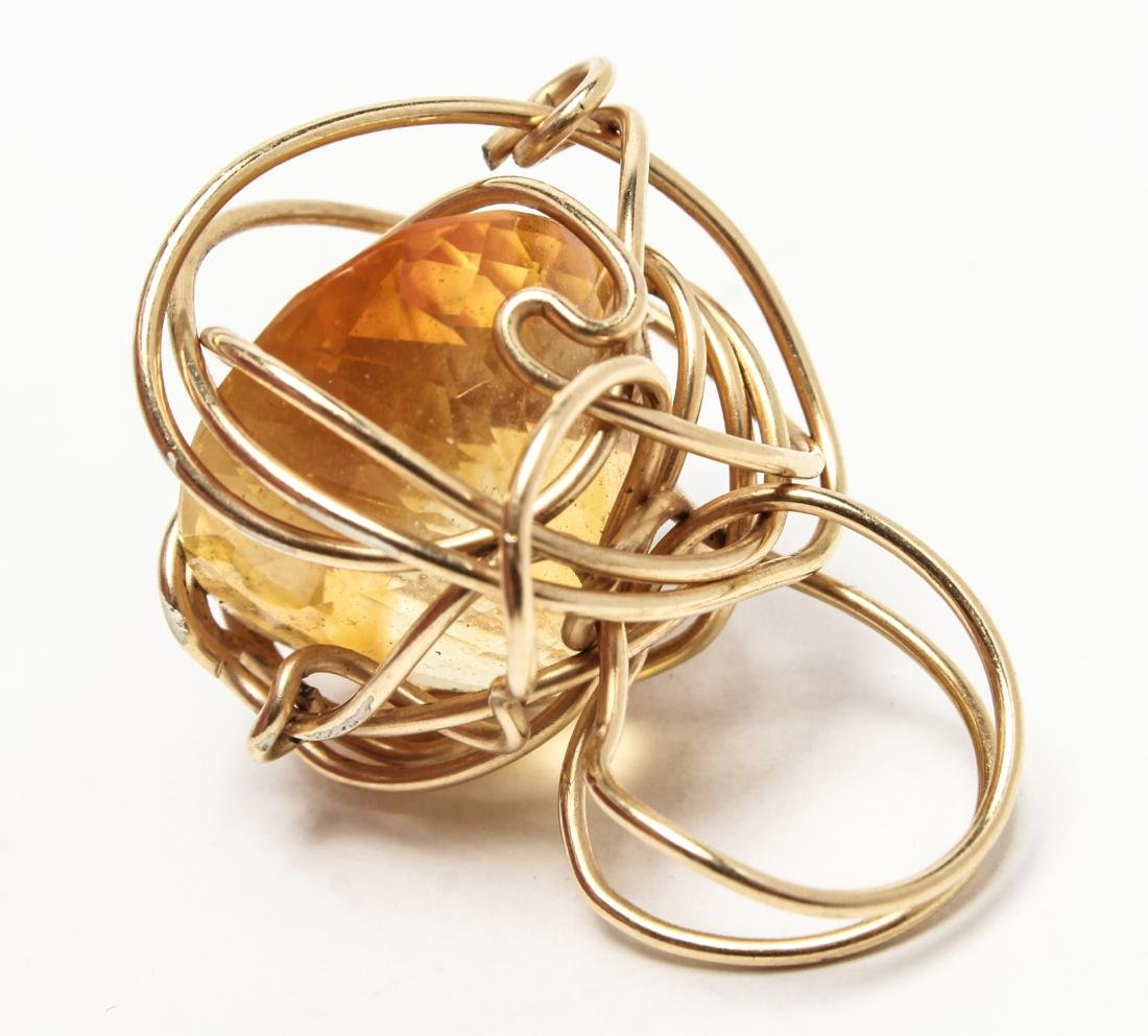 14K Yellow Gold & Large Oval Faceted Citrine Ring - 3