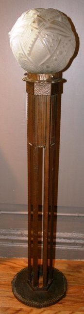 4: French Art Deco Wrought Iron & Art Glass Torchierre
