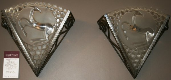 6: French Deco Wrought Iron Art Glass Sconces c.1930