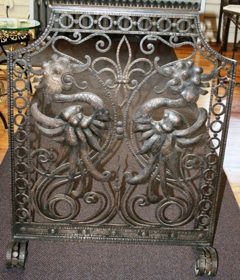 7: French Art Deco Wrought Iron Fire Screen with Griffe