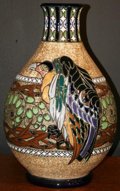 8: Large Austrian Amphora Ceramic Vase with Vulture mot