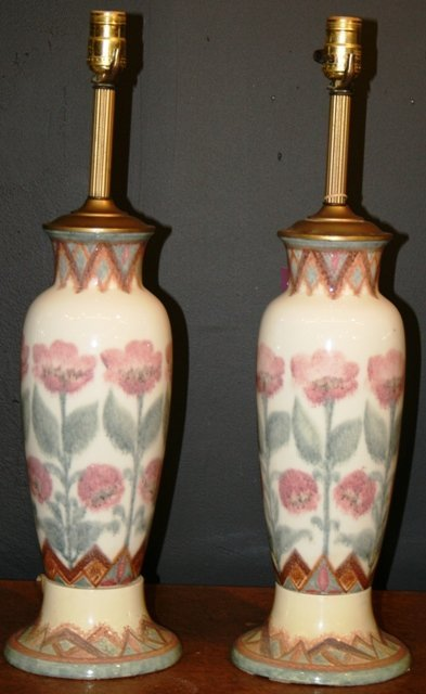 9: Pair of Rookwood Floral Ceramic Lamps