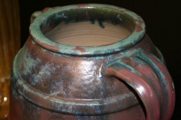 10: Large Fulper Purple Ceramic Handled Jar