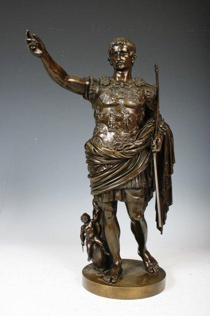 19A: Large 19 C. Bronze Statue of Julius Ceaser w/ War