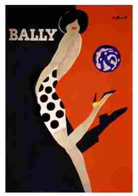 185: Original Bernard Villemot Bally Woman in Polka Dot