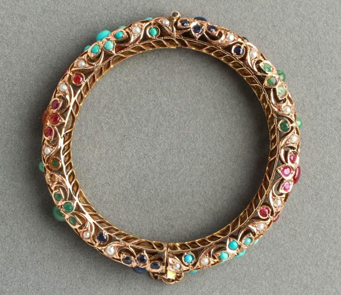 14K Gold Rubies Sapphires Emeralds Bangle Bracelet